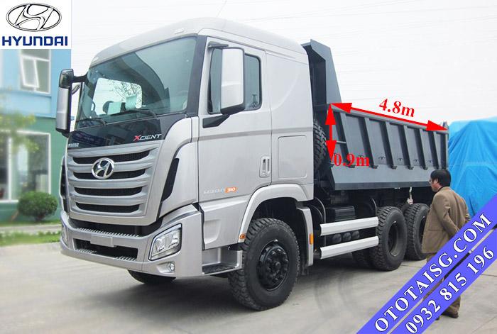 Kích thướt thùng xe ben 12 tấn Hyundai Xcient Trago lớn thích hợp chở hàng công trình, cát, đá,...-ototaisg.com