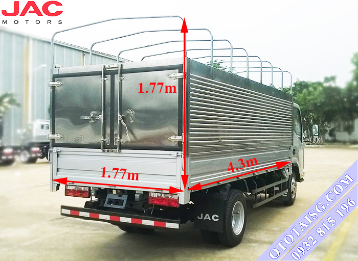 Jac HFC 1042K2 có kích thướt thùng nhỏ gọn thuận tiện chở nặng, có thể đóng thùng xe chuyên dụng tại Ô Tô Tải Sài Gòn-ototaisg.com