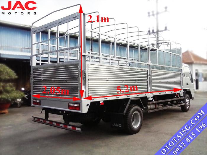 Jac 5 tấn có kích thướt thùng tương đối lớn, thuận lợi để chở nhiều loại hàng hóa-ototaisg.com