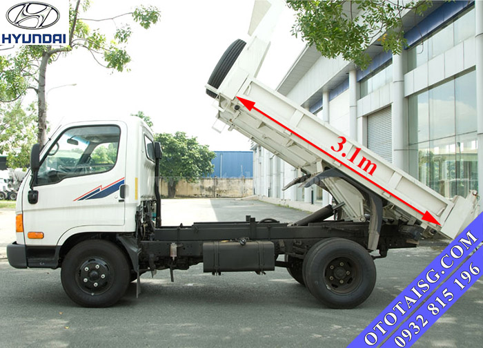 Xe ben tự đổ Hyundai HD72 có kích thướt thùng lớn tương đương với dòng xe 5 tấn thuận lợi cho chở hàng-ototaisg.com